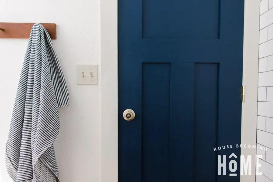 Blue Bathroom Craftsman Door 3 Panel DIY