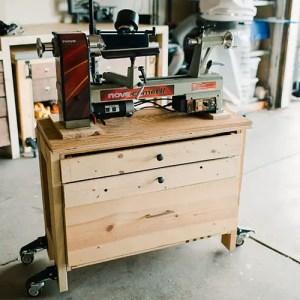 Midi Lathe on DIY Portable Table with Storage