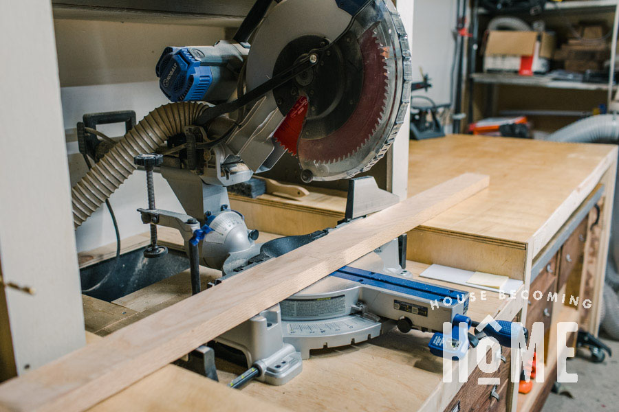 Recessed Miter Saw for Level Cuts