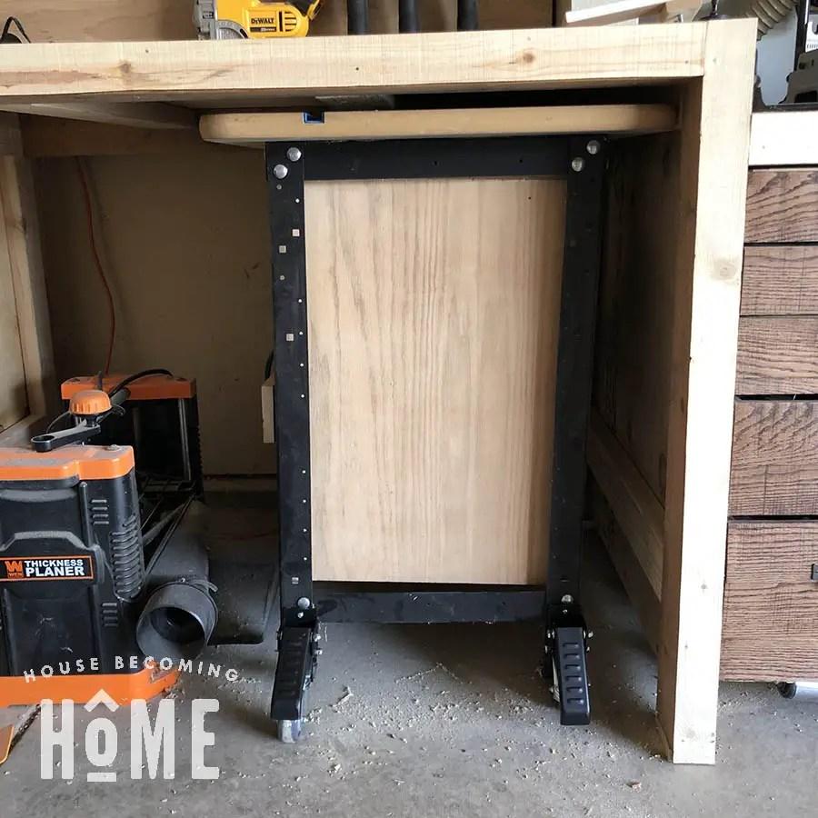 Router Table Storage Under Workbench