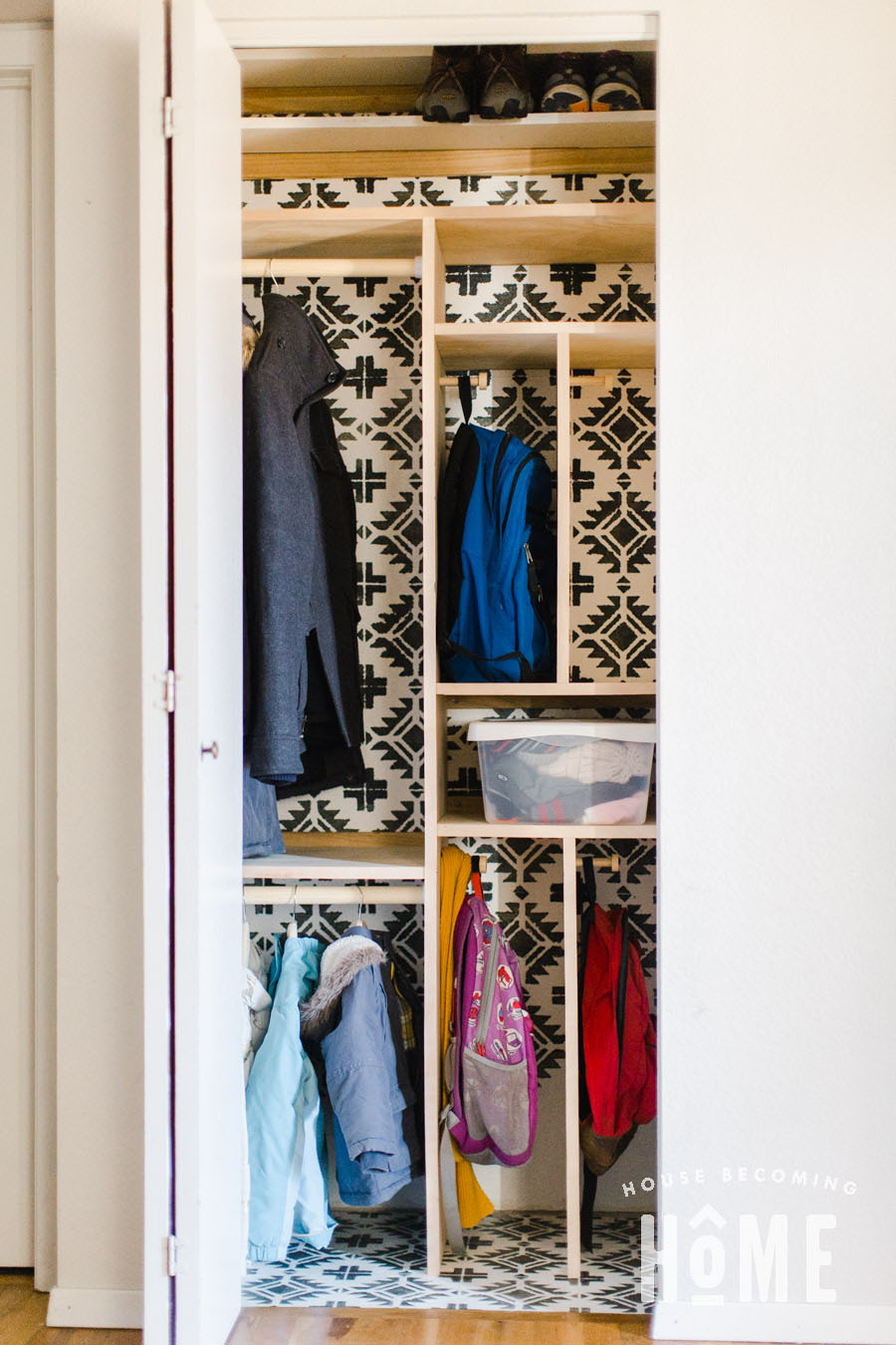 Small Coat Closet Organization Makeover After_