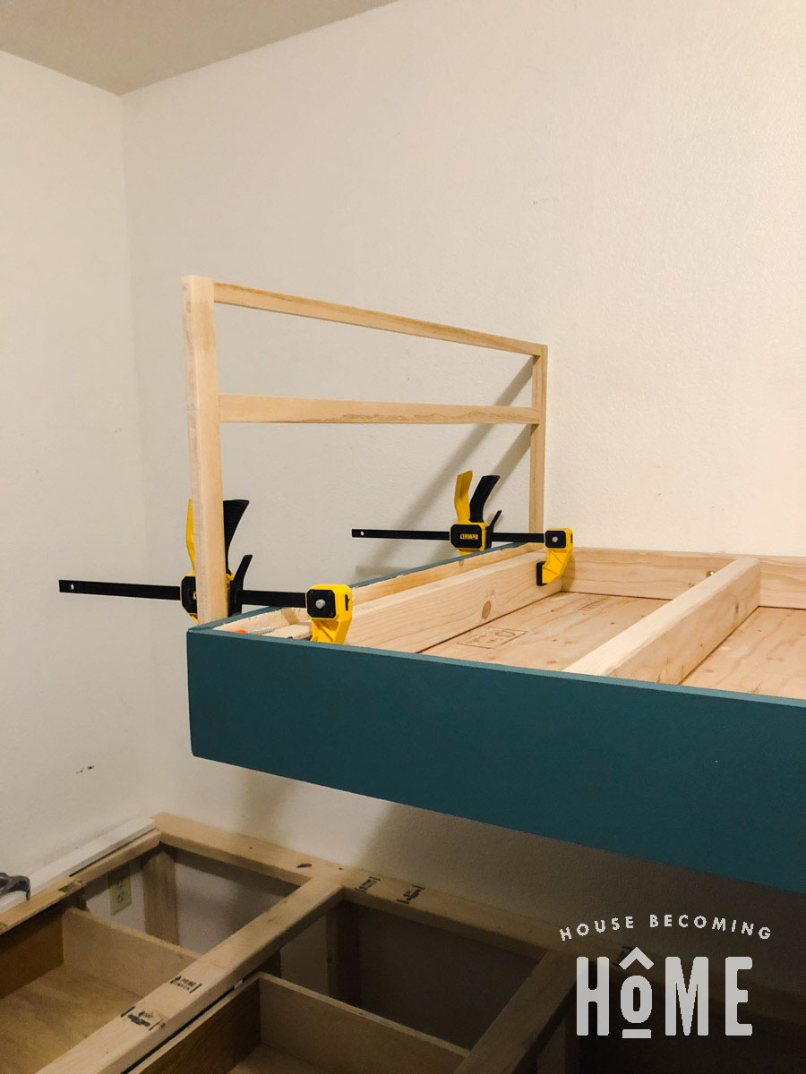 Attaching DIY Bunk Bed Guard Rail to End