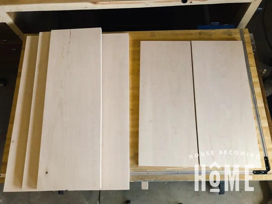 Maple Lumber Bookcase Pieces