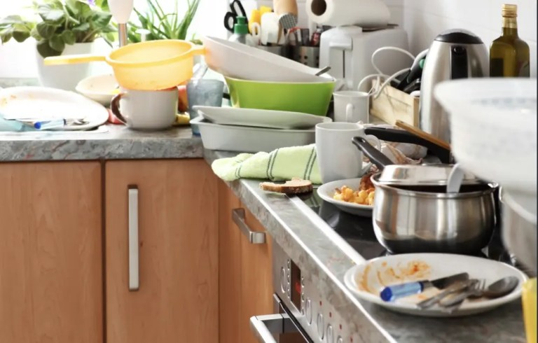 A cluttered kitchen counter