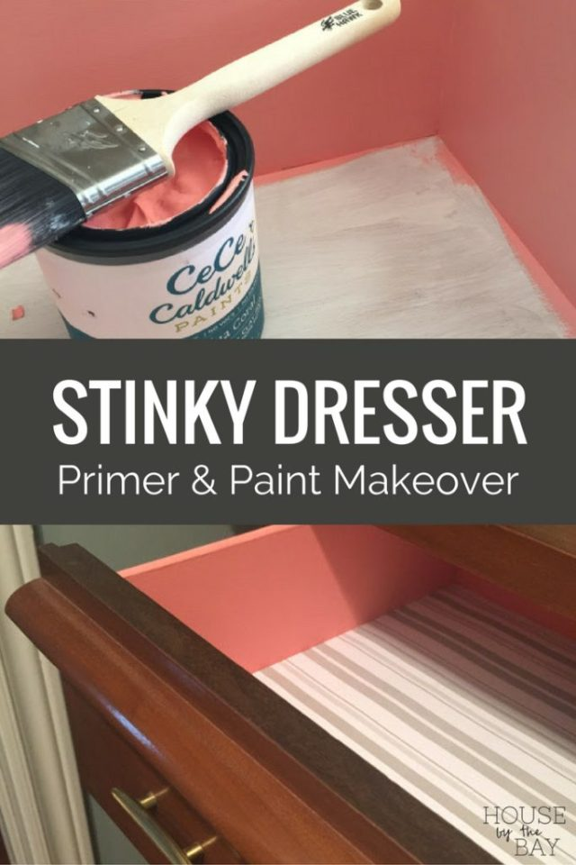 Stinky dresser makeover with primer and chalk paint
