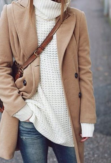 Winter DIY wardrobe plans camel coat oversized turtleneck