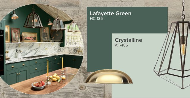 Recreate this space green and marble kitchen