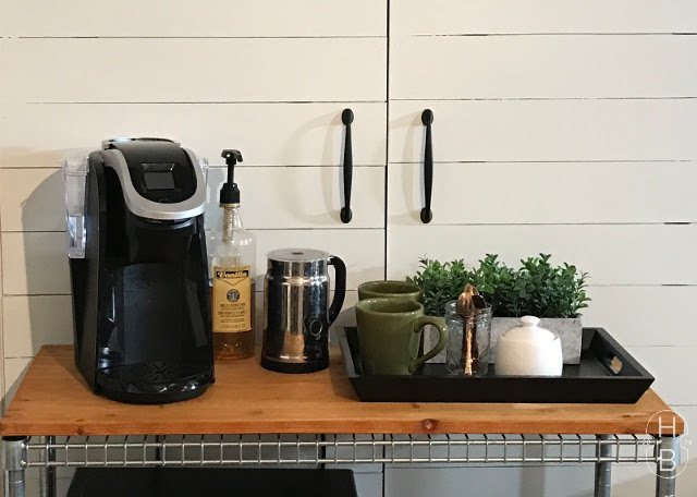 Farmhouse Kitchenette | Basement Apartment Kitchen | Shiplap coffee station by House by the Bay Design