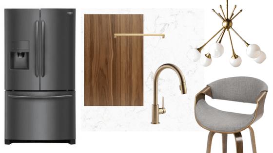 Mid-Century Modern Kitchen Design   Frigidaire Black Stainless Steel Appliances   House by the Bay Design
