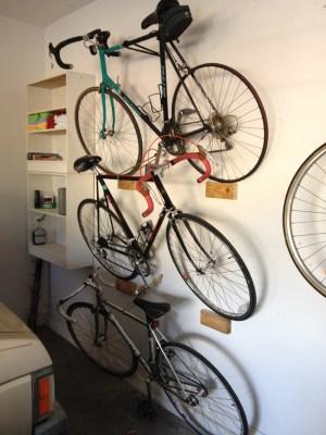 Shelved bikes.