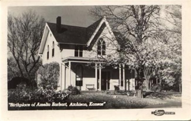 Amelia Earhart Birthplace House Museum in Kansas historic post card