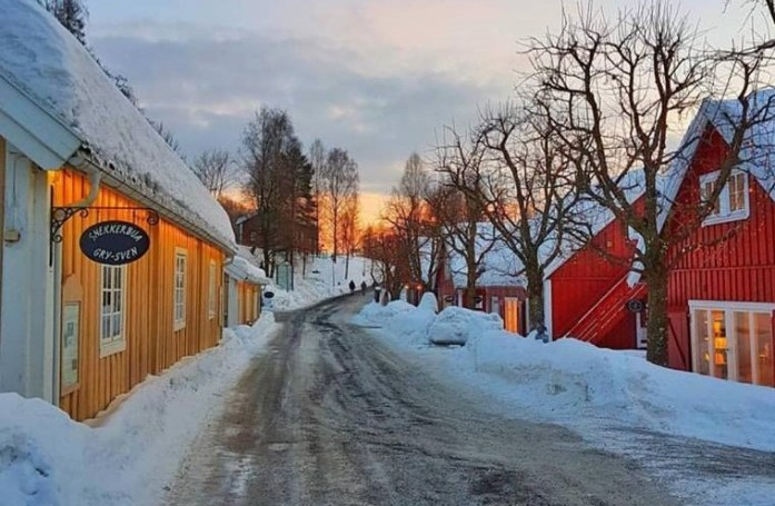 snowy village in Scandinavia