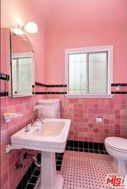 vintage bathroom with pink tile