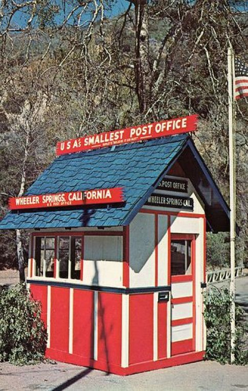historic country post offices Smallest Post Office in USA, Wheeler Springs CA