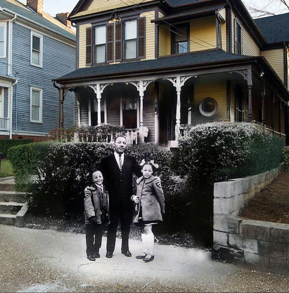 Martin Luther King Jr. in front of his birth house