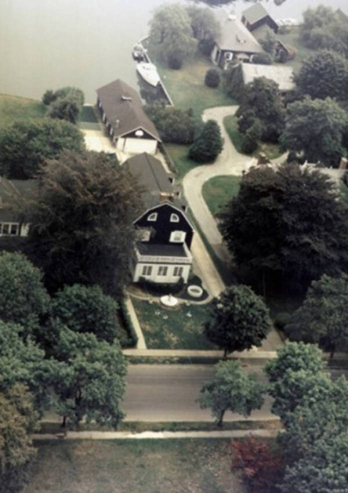 aerial shot of the Amityville Horror House