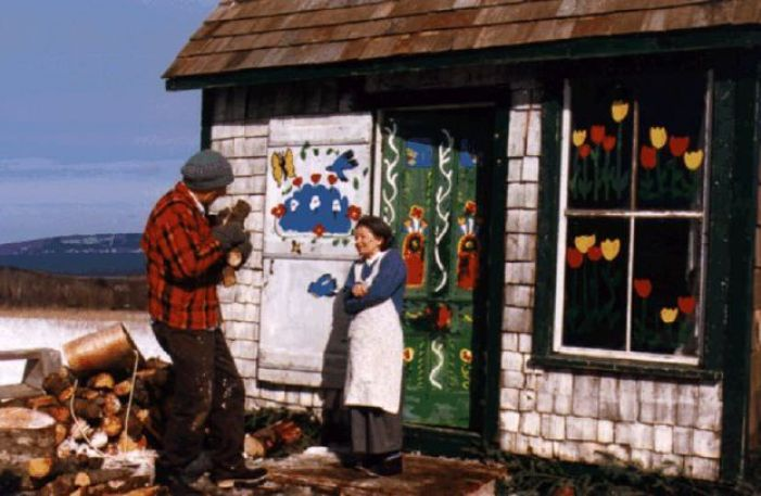 Maude Lewis painting at home