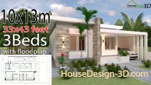House Design 3d 10x13 Meter 33x43 Feet 3 Bedrooms Terrace Roof