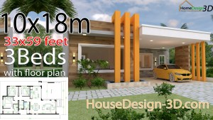 House Design 3d 10x18 Meter 33x59 Feet 3 Bedrooms Terrace Roof