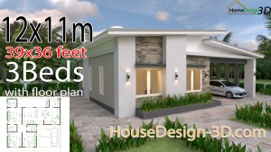 House Design 3d 12x11 Meter 39x36 Feet 3 Bedrooms Shed Roof
