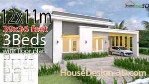 House Design 3d 12x11 Meter 39x36 Feet 3 Bedrooms Slap roof