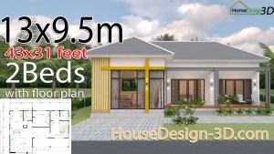 House Design 3d 13x9.5 Meter 43x31 Feet 2 Bedrooms Hip roof