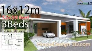 House Design 3d 16x12 Meter 52x39 Feet 3 Bedrooms