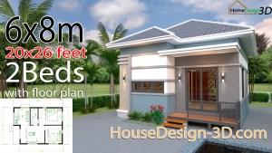 House Design 3d 6x8 Meter 20x26 Feet 2 Bedrooms Hip Roof
