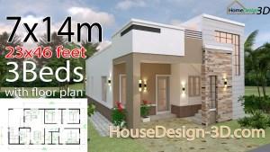 House Design 3d 7x14 Meter 23x46 3 Bedrooms Terrace Roof