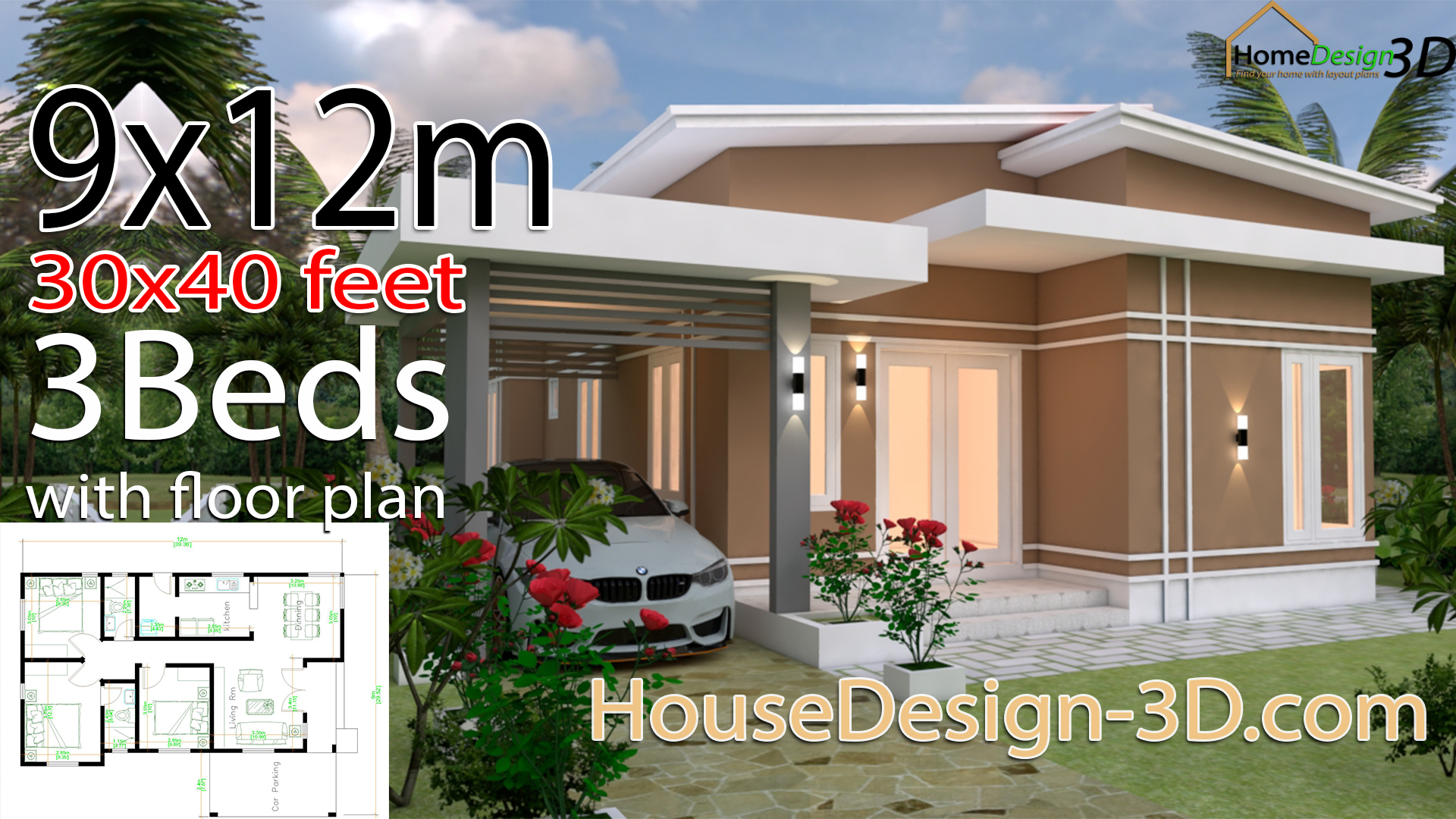 House Design 3d 9x12 Meter 30x40 Feet 3 Bedrooms Shed Roof House Design 3d
