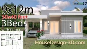House Design 3d 9x12 Meter 30x40 Feet 3 Bedrooms Terrace Roof