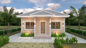House Plans 8x5.5 with One Bedrooms Gross Hipped roof