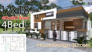 House design 140x60feet 12x18meters 4 Bedrooms
