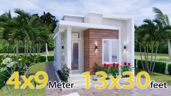 Tiny House Plans 4x9 Meters 2 Beds Terrace Roof