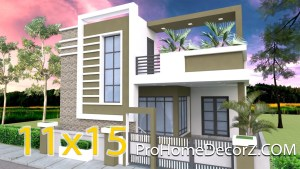 House Design 11x15 Meters 36x49 Feet 3 bedrooms Terrace Roof