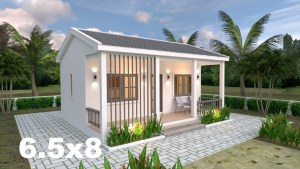 Small House Plans 6.5x8 with One Bedrooms gable roof