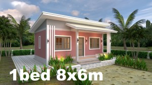 Small House Plans 8x6 with One Bedrooms Shed roof