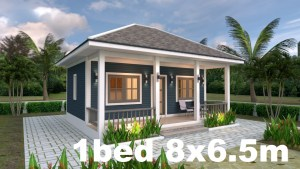 Small House Plans 8x6.5 with One Bedrooms Hip roof