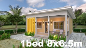 Small House Plans 8x6.5 with One Bedrooms Shed roof