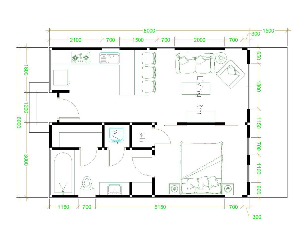 Studio House Plans 6x8 Hip Roof Floor plan