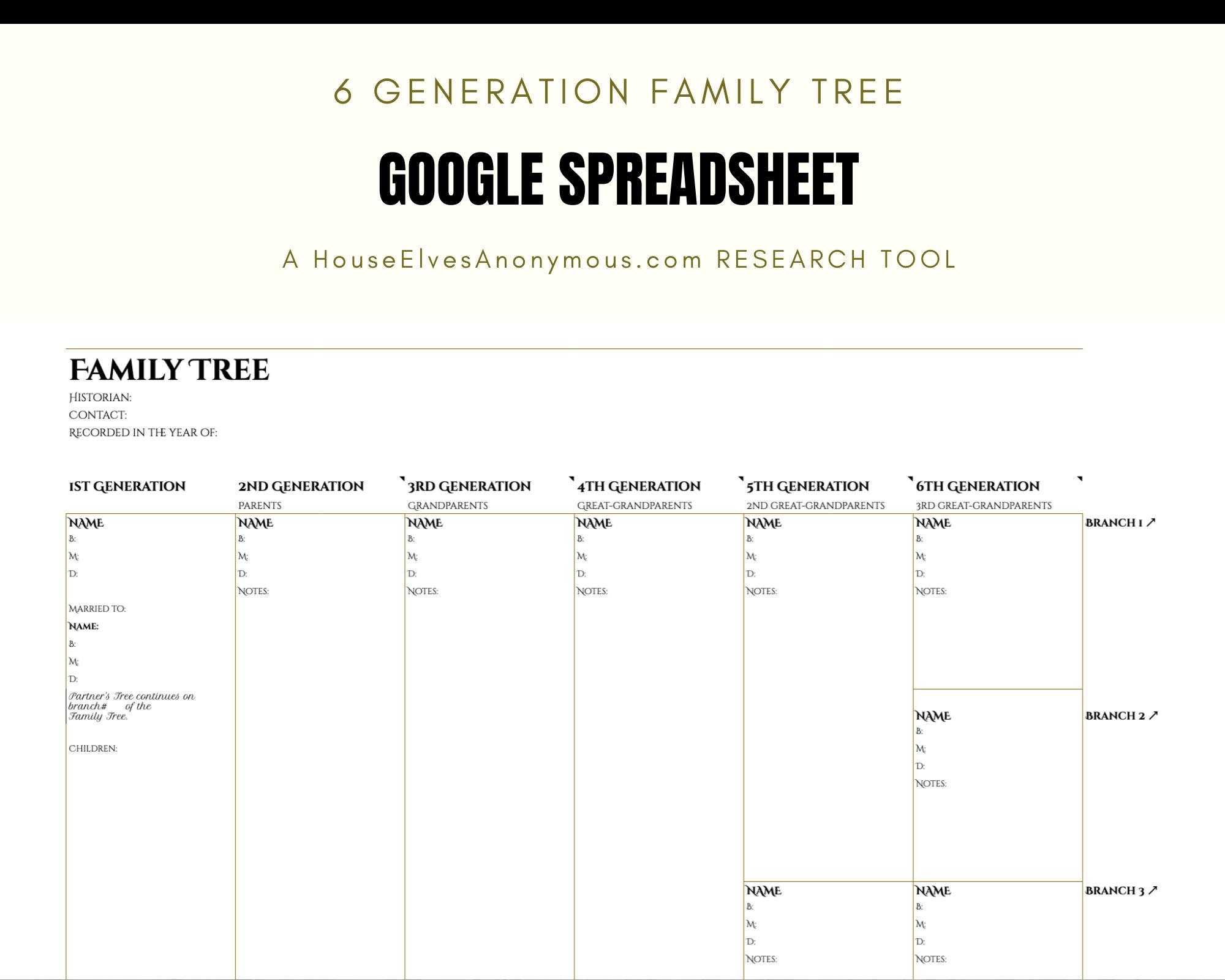 6 Generation Family Tree Spreadsheet