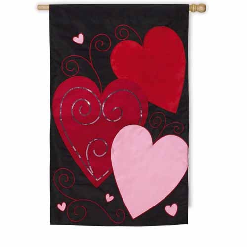 Sequins Heart House Flag Valentines Day House Flags
