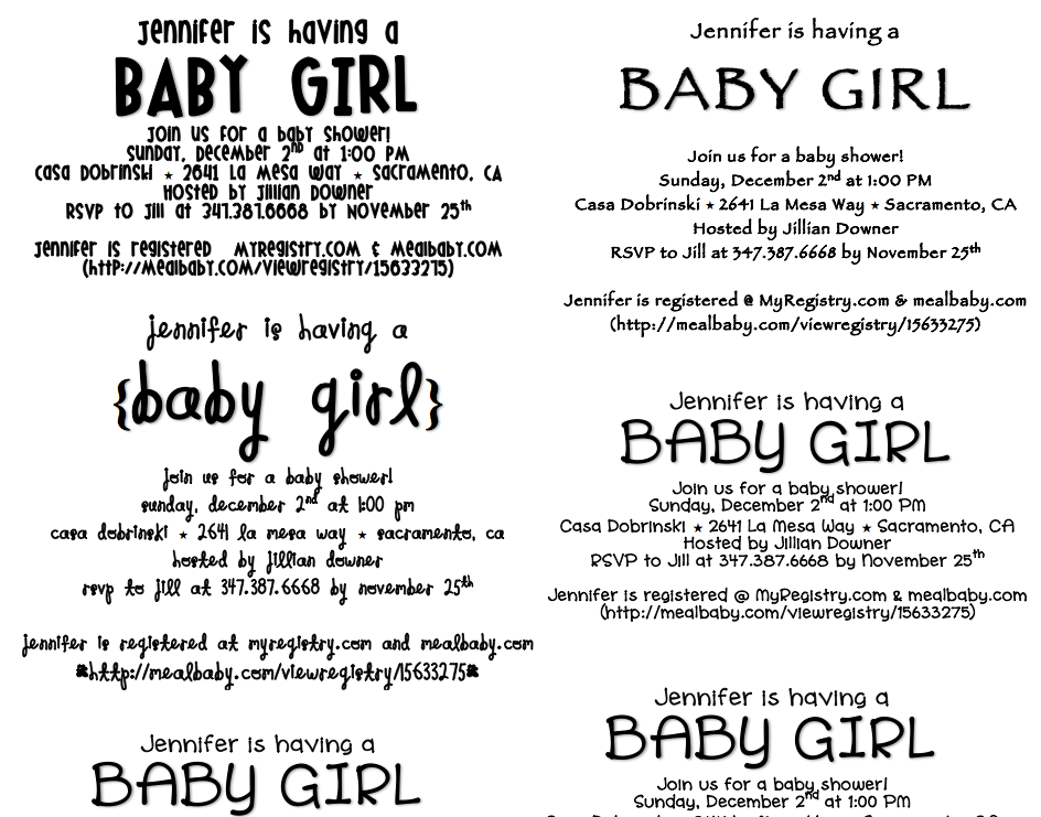 The Info For The Invite Card Was Printed Straight From The Computer Using  Word {Baby Shower Invite PDF} And A Few Of My Favorite Fonts.