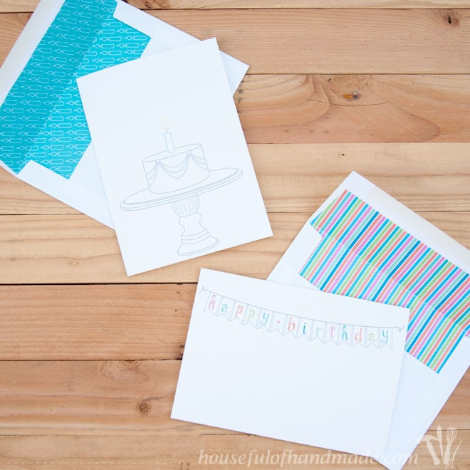 Free Printable Birthday Cards With Coordinating Envelope Inserts From Houseful Of Handmade
