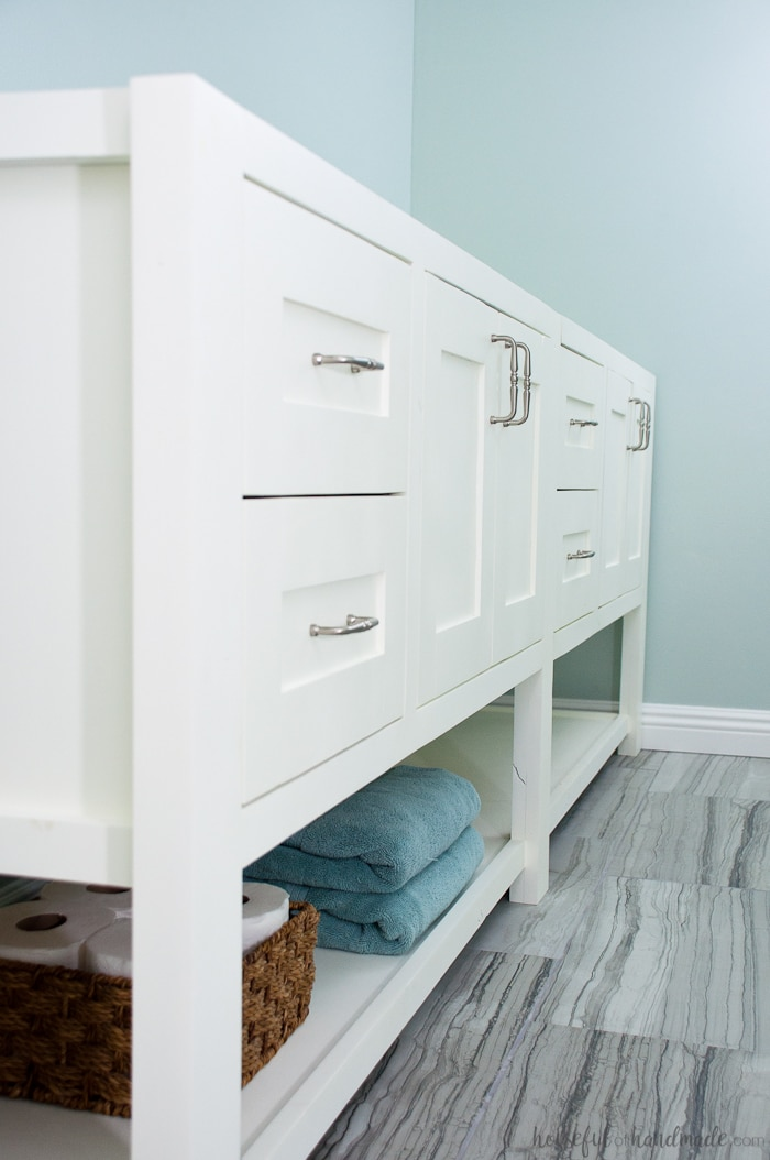 mission style open shelf bathroom vanity build plans - a houseful
