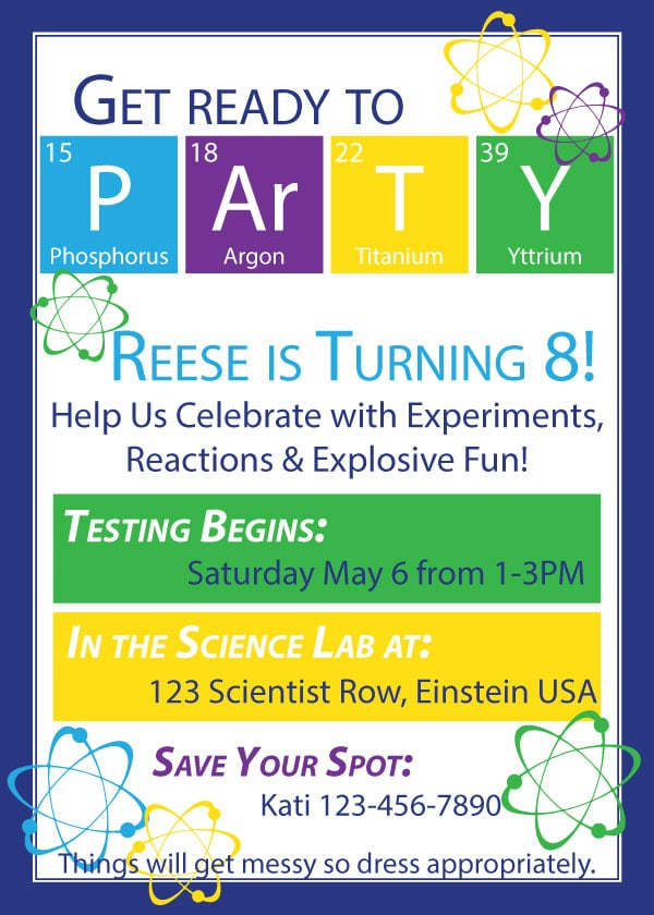 science birthday party houseful of
