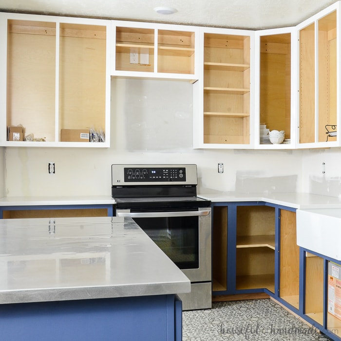 cheap unfinished kitchen cabinets red knife block set how to paint budget remodel