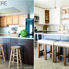 Two Tone Kitchen Island Artwork Blue White Reveal Houseful Of Handmade Before And After The Remodel Navy