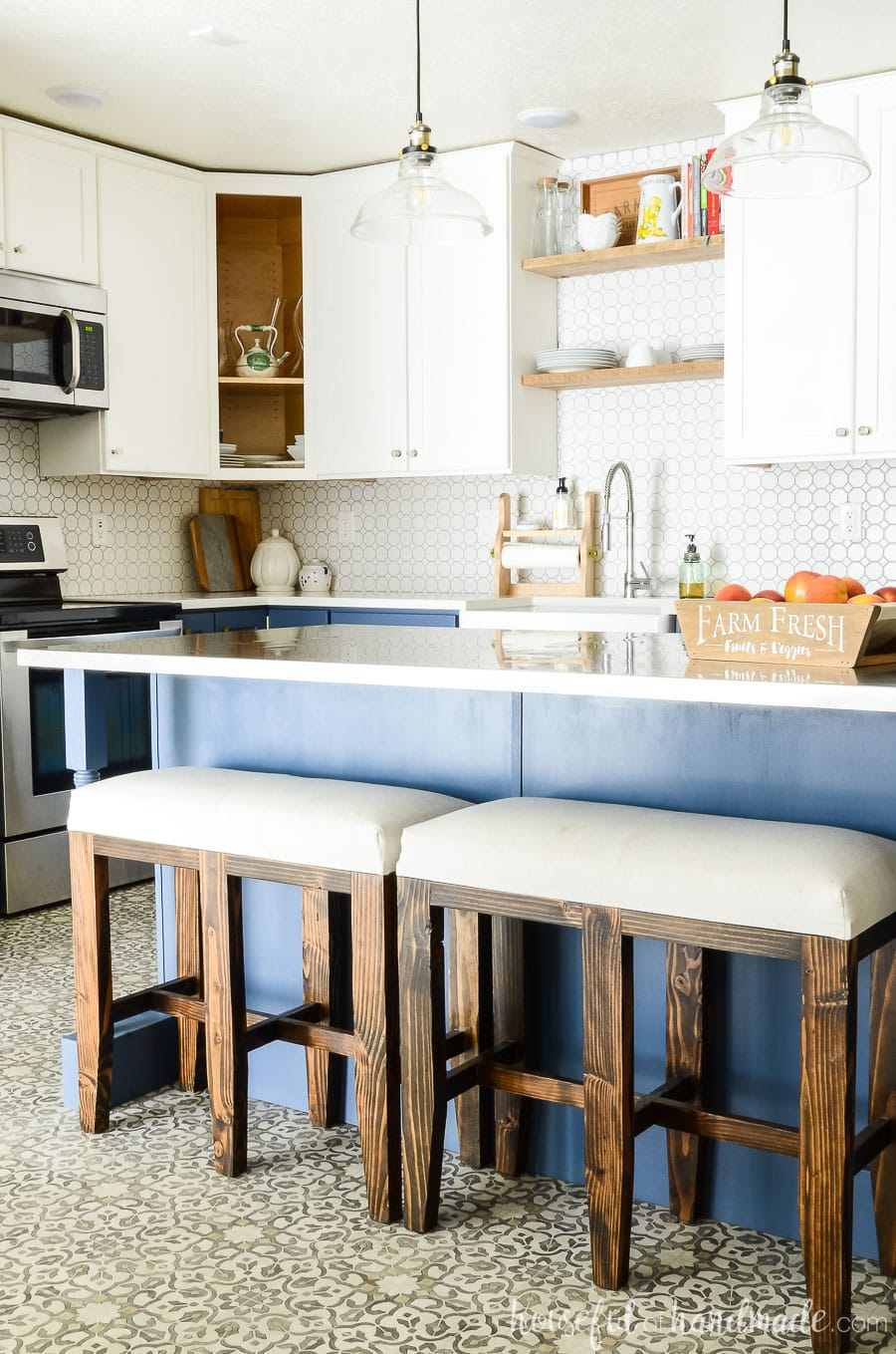 two tone kitchen island gray backsplash blue white reveal houseful of handmade farmhouse with bar stool benches at it cabinets