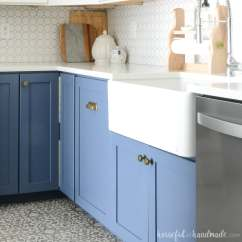 Kitchen Farm Sink Country What To Know Before Buying A Farmhouse Houseful Of Handmade White In With Blue Base Cabinets